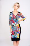 2450 Tropical Floral Vneck Dress