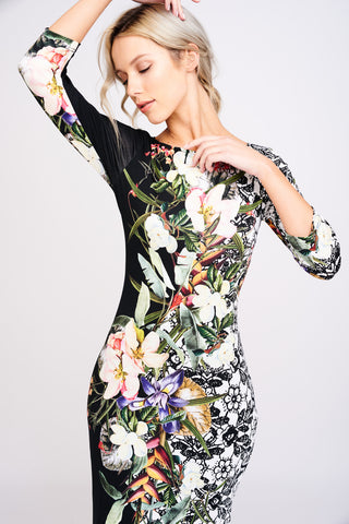 A2405 Botanical Print Dress
