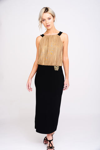 2400 Gold and Black Maxi Dress