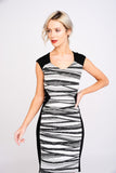 A2481 Black & White Print Dress