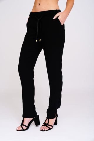 1 2439 Black Drawstring Trousers