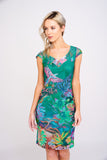 A2461 Tropical Print Mesh Dress