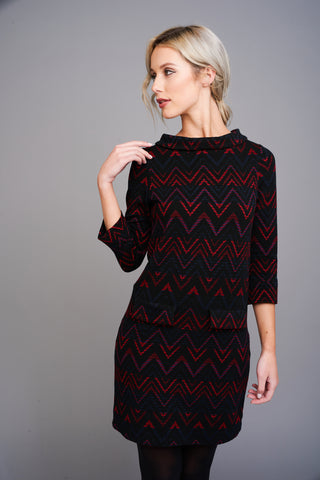 A 2506 Zig-Zag Print 60s Mini Dress