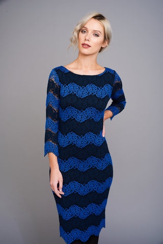 A 2503 Blue Zig-Zag Lace Dress