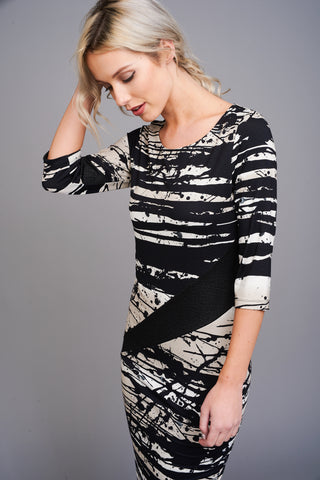 2564 Black and White Midi Dress