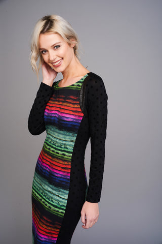 A 2548 Colourful Striped Bodycon Dress