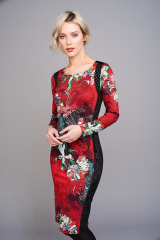2518 Red Oriental Print Bodycon Dress