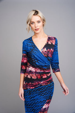 A 2500 Blue and Red Print Wrap Dress