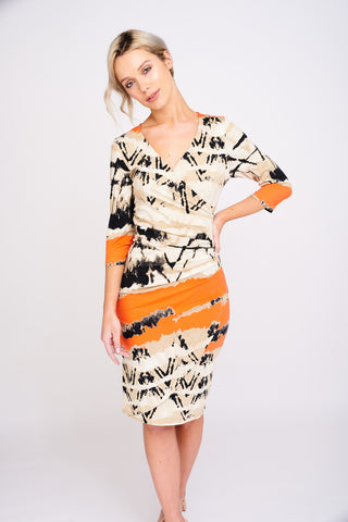 2416 Aztec Print Wrap Dress