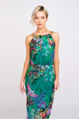 A2460 Tropical Print Maxi Dress