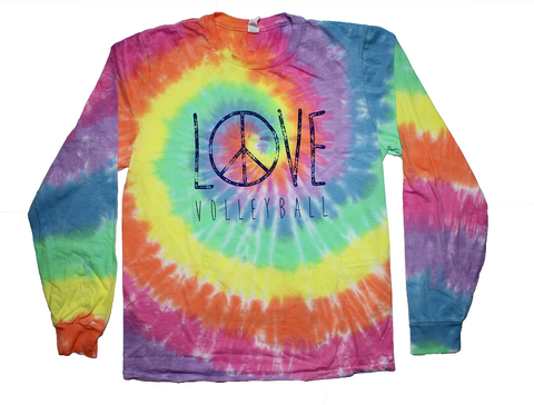 Pastel Peace Tie Dye Volleyball Long Sleeve Tee Shirt