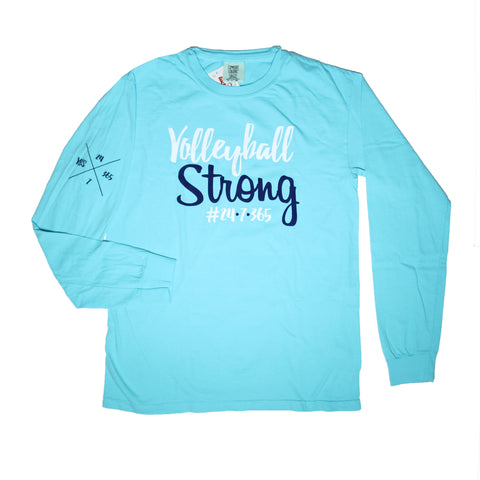 Volleyball Strong Long Sleeve T-Shirt Lagoon Blue