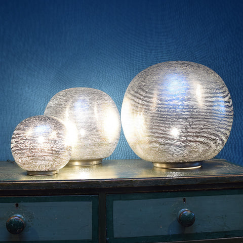 Medium silver globe table lamp