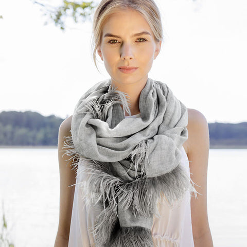 Feneun Cashmere Scarf with Ostrich Feather Fringe. Silver Grey.