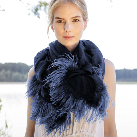 Feneun Merino Wool Scarf with Ostrich Feather Trim. Electric Blue.