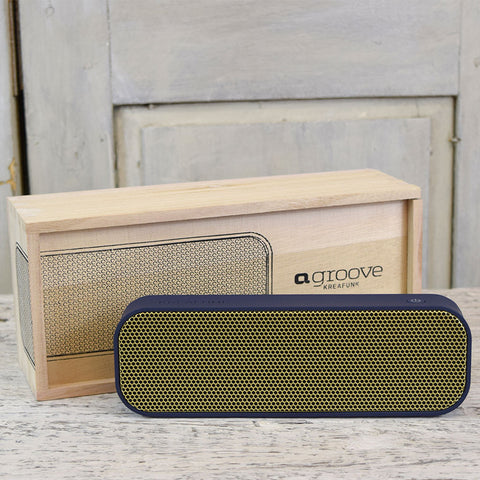 KREAFUNK aGroove Bluetooth Speaker. Blue with Gold Front.