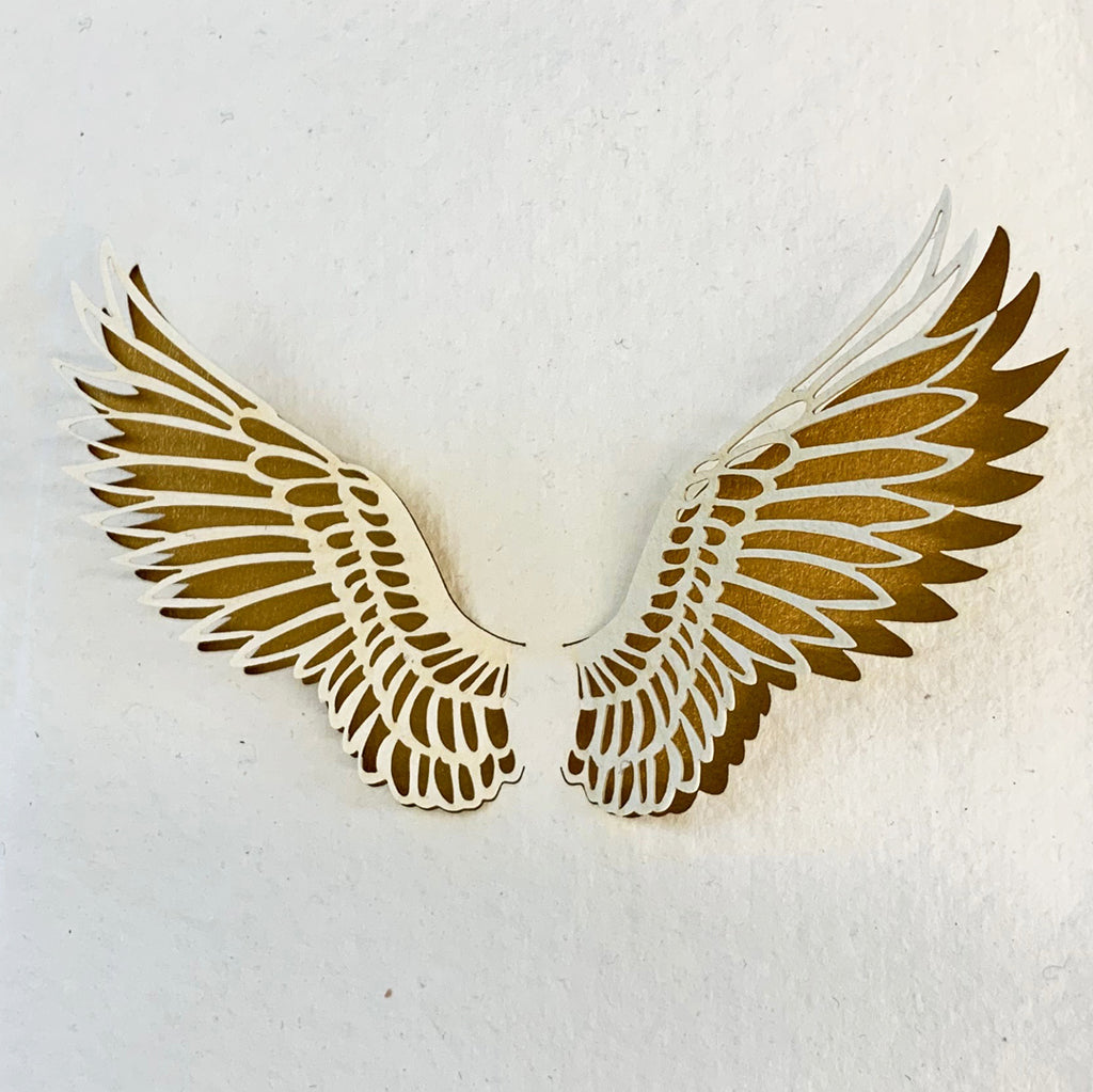 Handmade Eco Laser Cut Card, Angel Wings.
