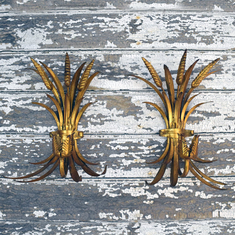 Pair of French Gilt Antique Wall Sconces.
