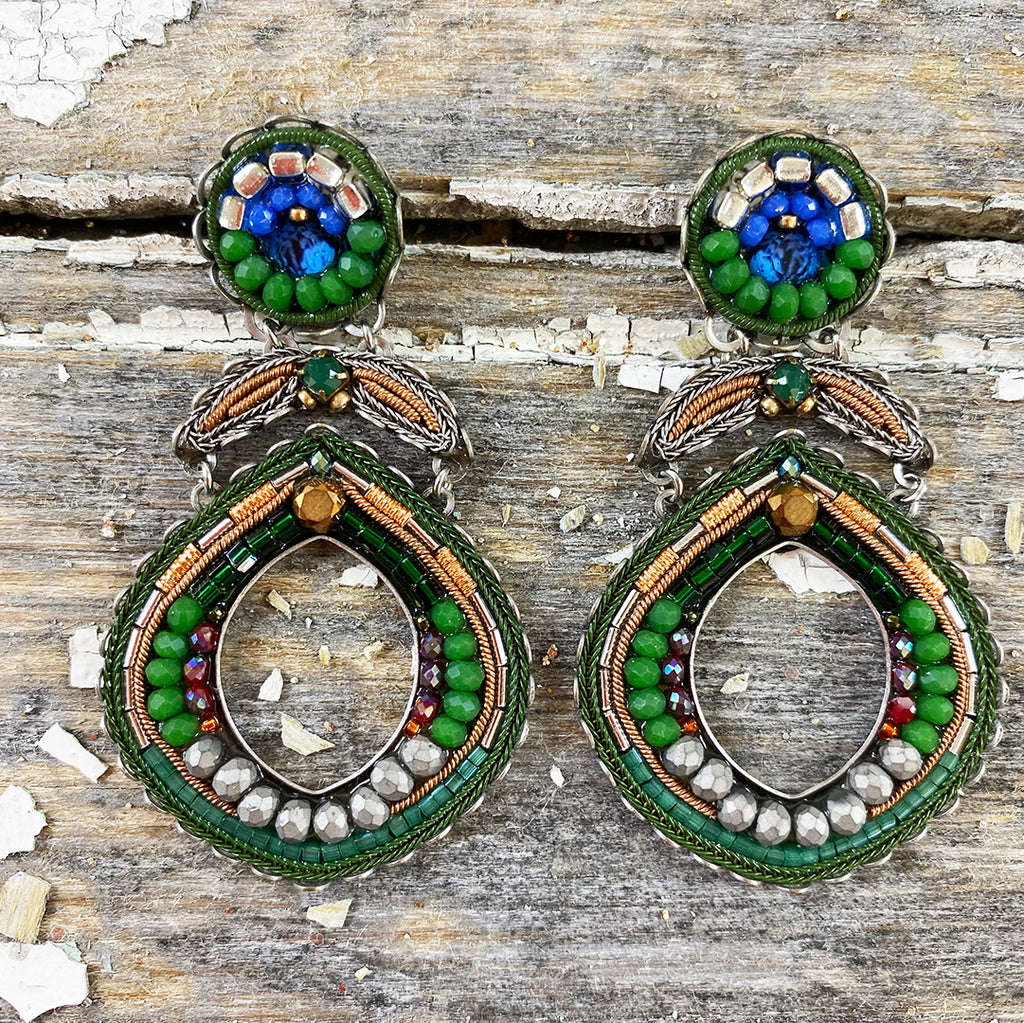 Decorative Green, Blue and Copper Jewel Drop Earrings by Ayala Bar