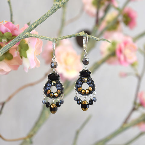 Black and brown beaded drop earrings