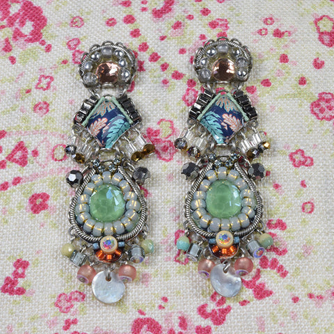 Blue and green beaded drop earrings