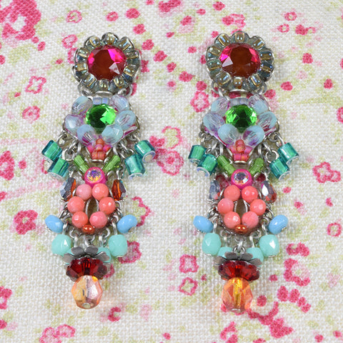 Ayala bar green and crimson drop earrings