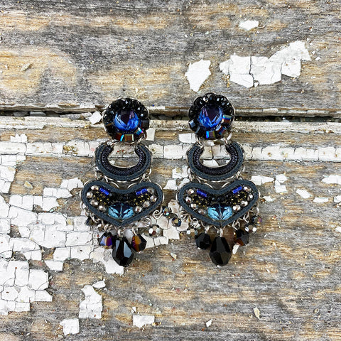 Decorative Dark Blue Jewel Drop Earrings by Ayala Bar