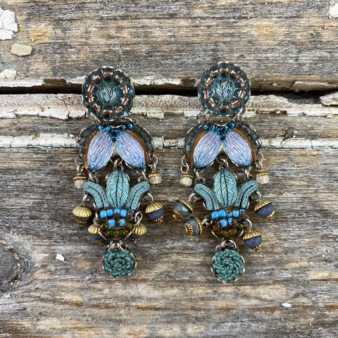 Decorative Pale Aqua Blue Jewel Drop Earrings by Ayala Bar