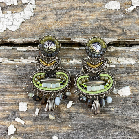 Decorative Pale Green Jewel Drop Earrings by Ayala Bar