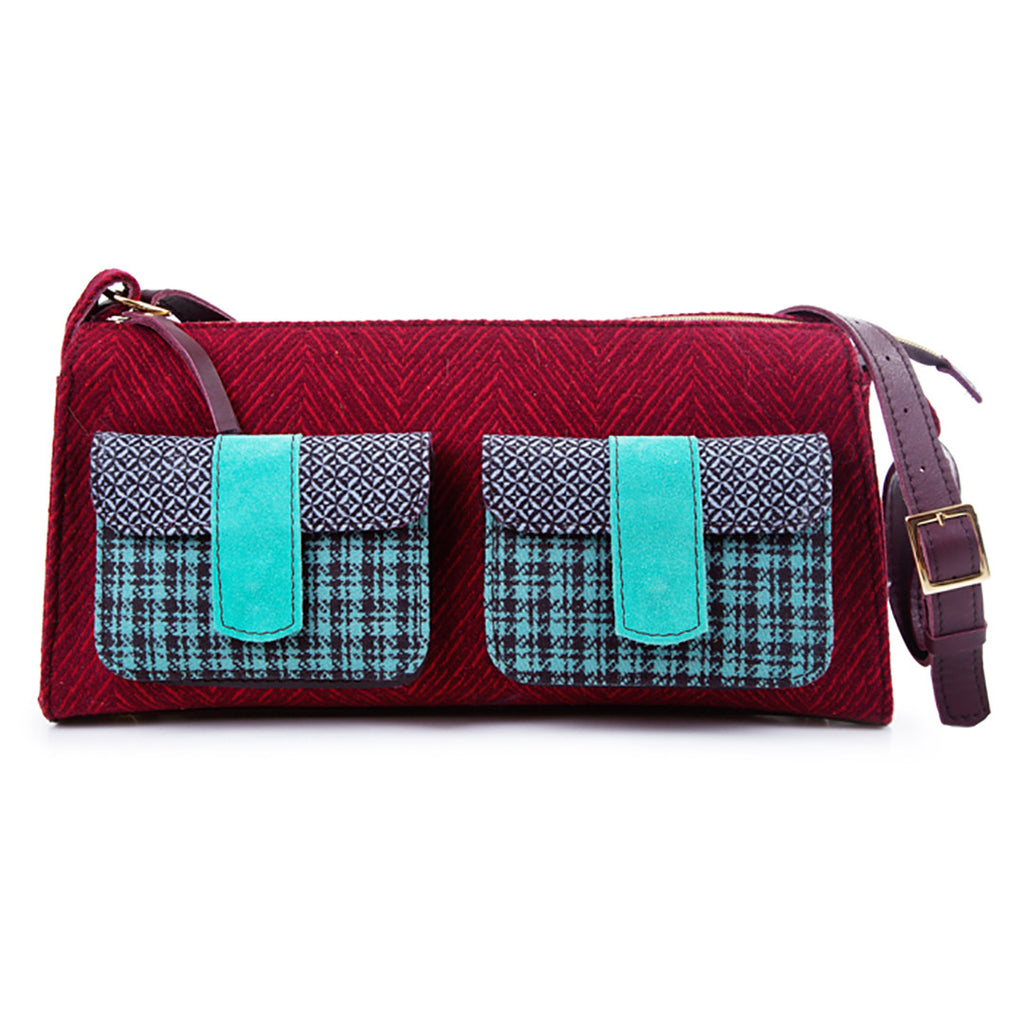 2 Pocket Fabric and Leather Handbag. Red and Green.