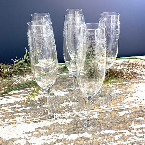Champagne Flutes With Etched Pattern