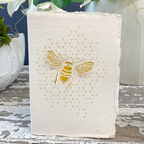 Handmade Eco Laser Cut Card, Honeycomb Bee.