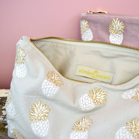 Elizabeth Scarlett Pineapples Travel Pouch. Grey.