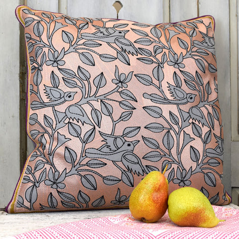 Bird and branch designer cushion