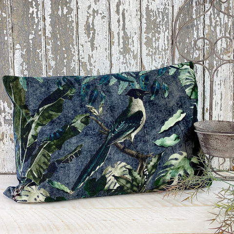 Beautiful Slate Velvet Cushion With Birds & Flowers