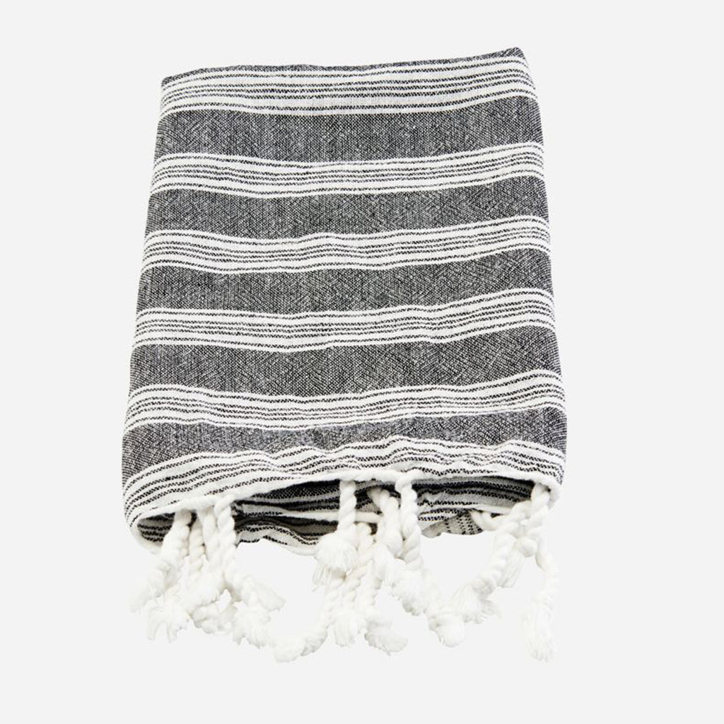 Meraki Black with White Stripes Hammam Towel.
