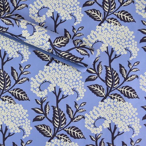 Wrapping Paper. Blue with Pale Yellow Flowers.