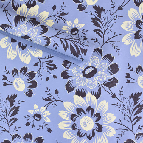 Wrapping Paper. Blue with Pale Yellow & Dark Ink Flowers.