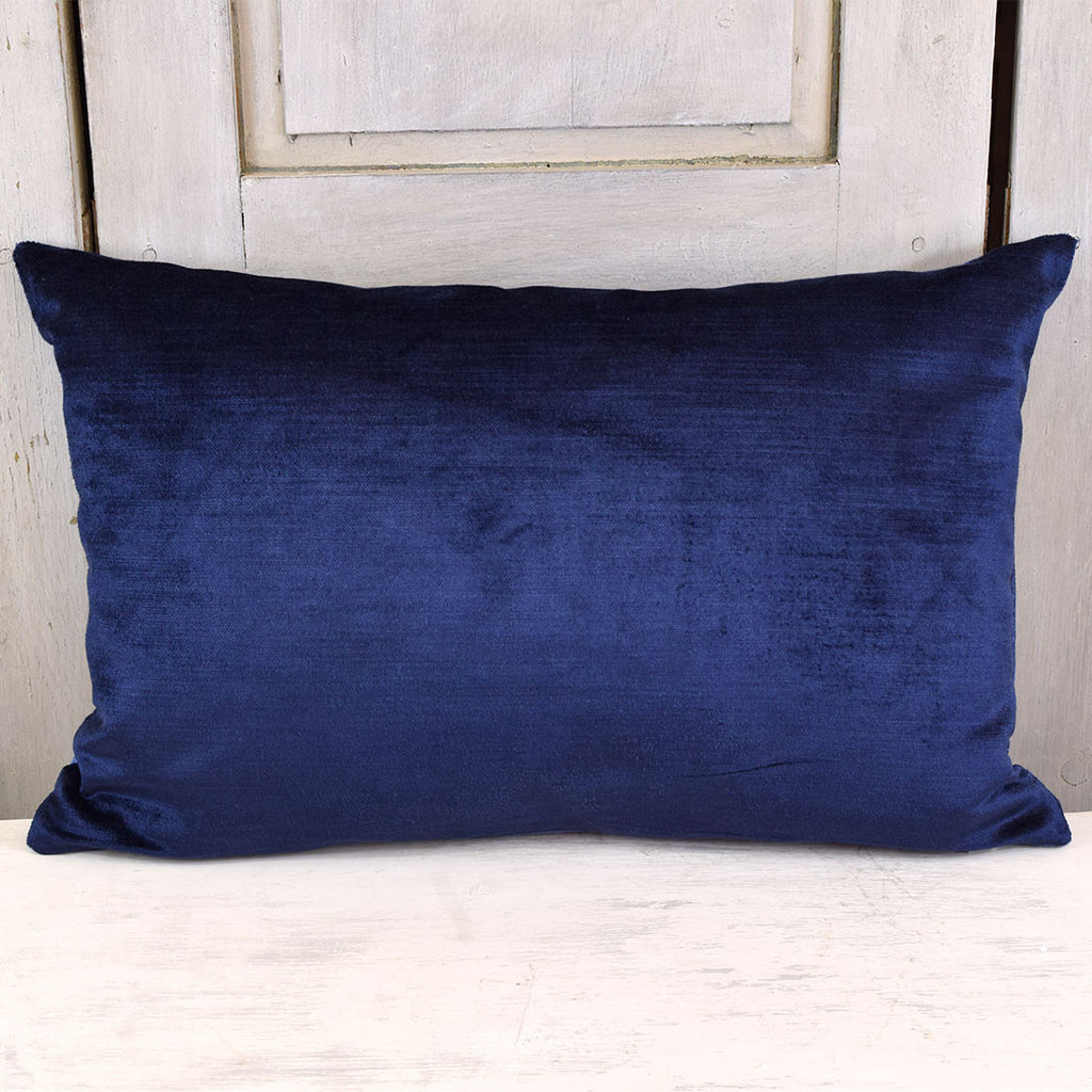 Plain Velvet Cushion. Navy Blue.
