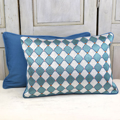 Diamond Pattern Embroidered Cushion. Teal Blue.