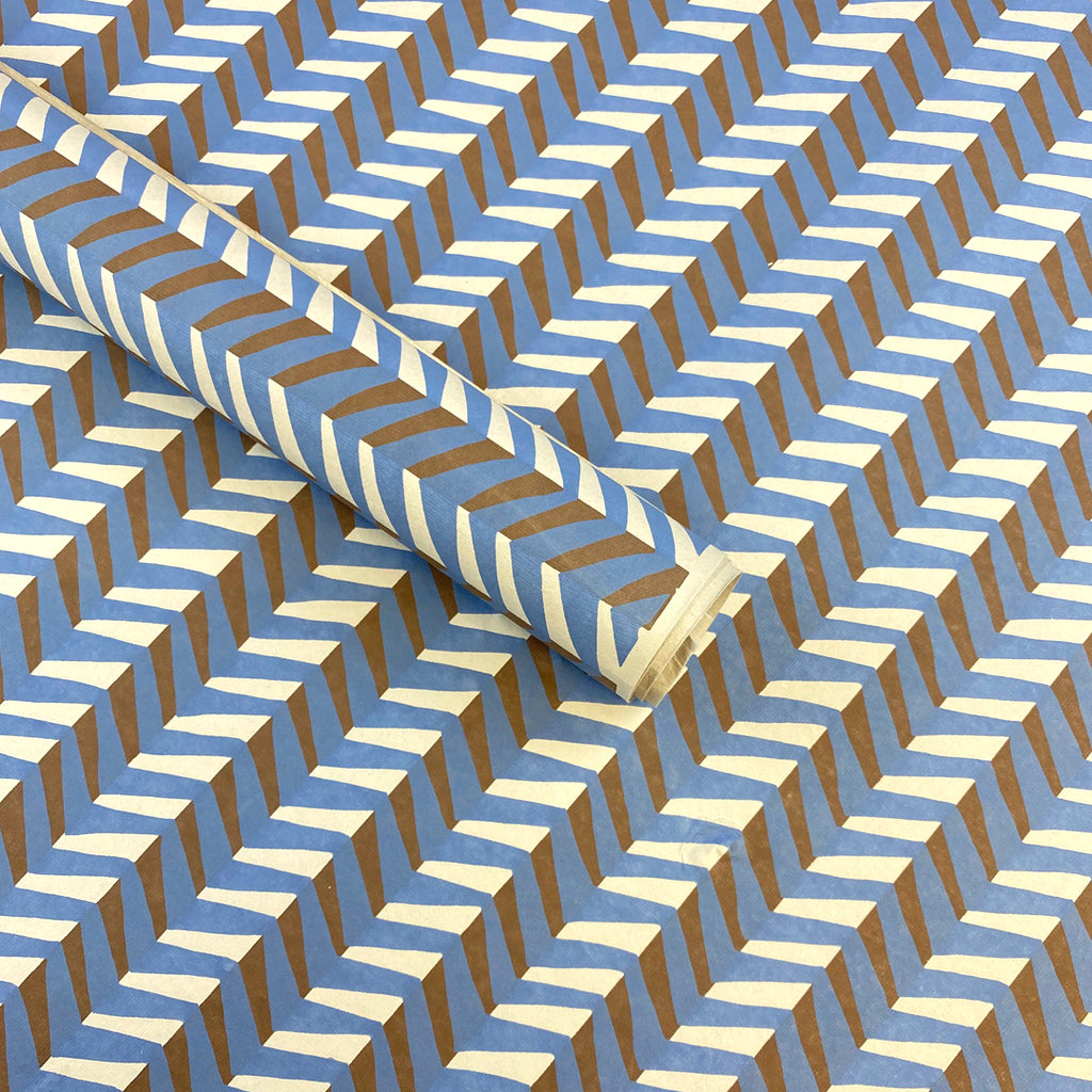 Handmade Wrapping Paper. Blue Geometric Pattern.