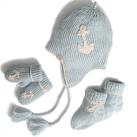 Blue Alpaca Baby Bonnet, Mittens & Socks Set.