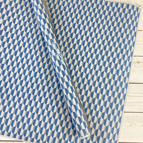 Bungalow Wrapping Paper. Blue and Grey Geometric.