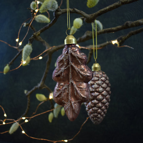 Vintage Pink Leaf Christmas Bauble