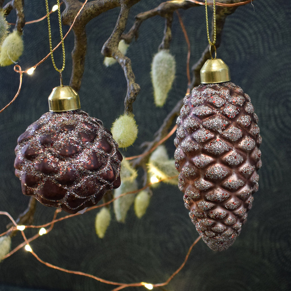 Vintage Pink Pine Cone Christmas Bauble.