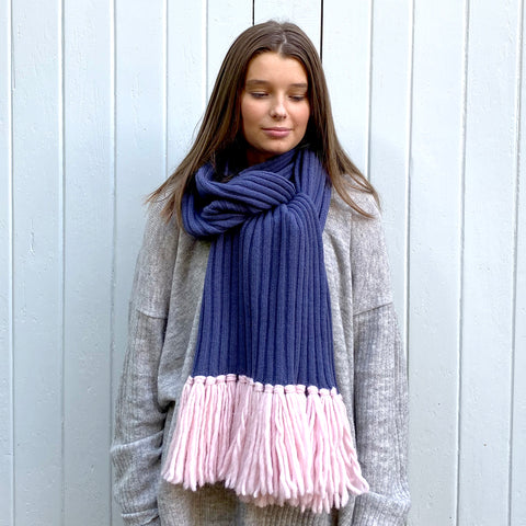 Feneun Bonnie Limited Edition Scarf, Indigo and Pink.