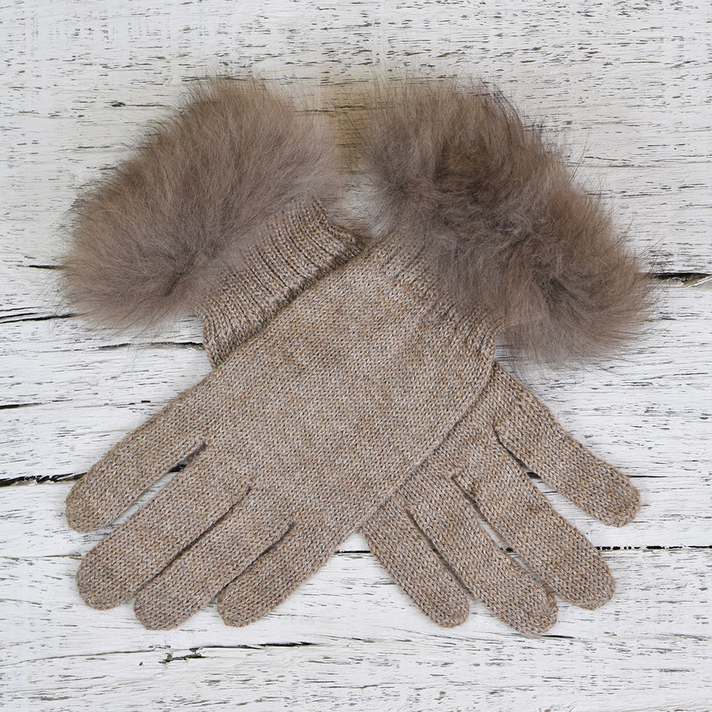 Samantha Holmes Alpaca Fur Trim Jersey Knit Gloves. Nutmeg.