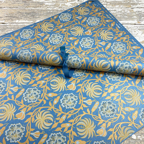 Bungalow Wrapping Paper Blue and Copper Flowers