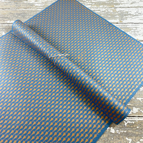 Bungalow Wrapping Paper Blue and Copper Geometric