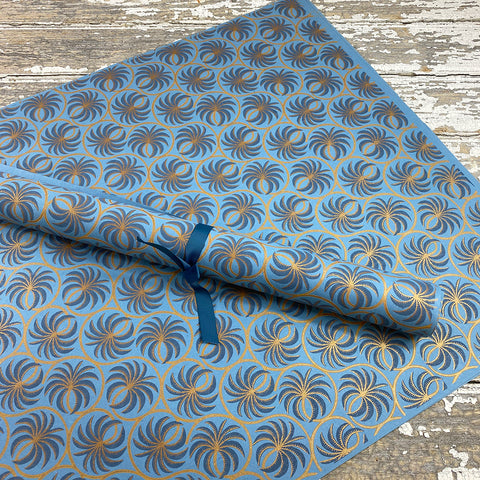 Bungalow Wrapping Paper Blue and Copper Palms